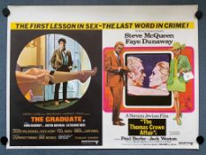 THE GRADUATE & THE THOMAS CROWN AFFAIR (1969) - British UK Quad Double Bill - RARE early example