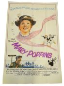 """MARY POPPINS (1970's Release) - Large Format British UK (60"""" x 40"""") Film Poster- Folded (as issued)"""