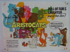 THE ARISTOCATS (1975) - UK Quad Film Poster - FIRST RELEASE - Classic WALT DISNEY feline jazz