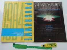 GLASTONBURY - A pair of festival programmes and as