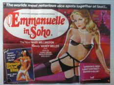 EMMANUELLE IN SOHO (1981) - British UK Quad (Tigon Double Bill) - BARRIE JAMES artwork of Mandy