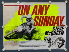 ON ANY SUNDAY (1971) - STEVE McQUEEN - British UK Quad film poster - Bruce Brown's 1971 motorcycle