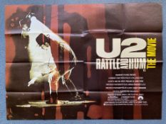 "U2: RATTLE AND HUM (1988) British UK Quad film poster - 30"" x 40"" (76 x 101.5 cm) - Folded (as"