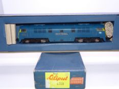 OO GAUGE - A Liliput Western class diesel locomotive D1038 Western Sovereign in BR blue. G in G box