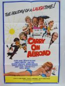 """CARRY ON ABROAD (1972) UK/International One Sheet Movie Poster (27"""" x 41"""" - 68.5 x 104 cm) - Folded."""