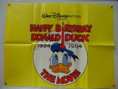 "HAPPY BIRTHDAY DONALD DUCK (1984) - UK Quad Film Poster - 30"" x 40"" (76 x 101.5 cm) - Folded (as"