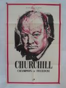 "CHURCHILL CHAMPION OF FREEDOM (1965) - UK / International One Sheet Movie Poster (27"" x 41"" - 68.5 x"