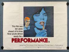 PERFORMANCE (1979 Release) - British UK Quad film poster - MICK JAGGER - This gender-bending British