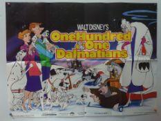 101 DALMATIANS (1980's) RE-RELEASE UK QUAD FILM POSTER - Classic WALT DISNEY animated adventure -