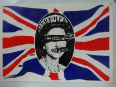 SEX PISTOLS: GOD SAVE THE QUEEN (1980) - Screen used film prop poster based on JAMIE REID'S iconic