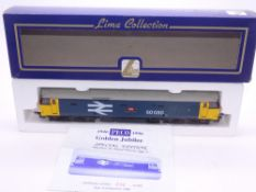 OO GAUGE - A Lima Class 50 diesel locomotive, 50050 Peco Golden Jubilee, in Large Logo Blue, #231 of