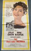 "DOCTOR'S DILEMMA (1959) - US Three Sheet movie poster - Dirk Bogarde - Leslie Caron - 41"" x 81"" (104"