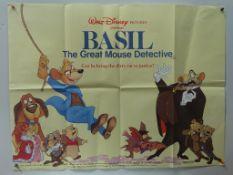 "BASIL THE MOUSE DETECTIVE (1986) - British UK Quad - Classic WALT DISNEY animated adventure - 30"""