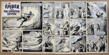 THE SPIDER VERSUS THE SINISTER SEVEN (1967) - (5 in Lot) REG BUNN ORIGINAL ARTWORK - LION COMIC