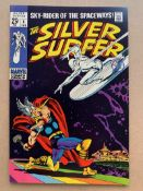 SILVER SURFER #4 (1969 - MARVEL - Cents Copy/Pence Stamp - VFN/NM) - John Buscema's classic cover of