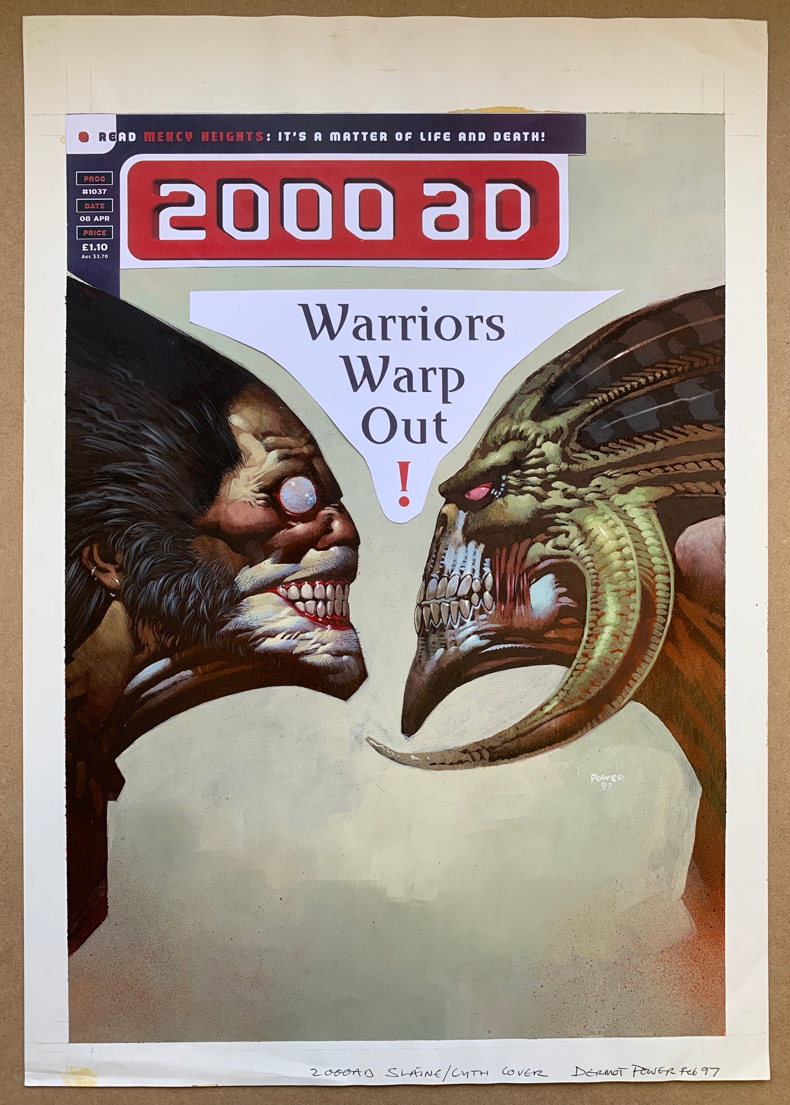 """Lot 1593 - 2000 AD #1037 (1997) - """"Slaine vs Cyth"""" ORIGINAL FRONT COVER ARTWORK - SIGNED, DRAWN & PAINTED by"""