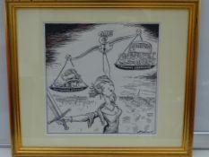 GIBBARD: Black and white - Framed and Glazed Original Satirical Cartoon Artwork
