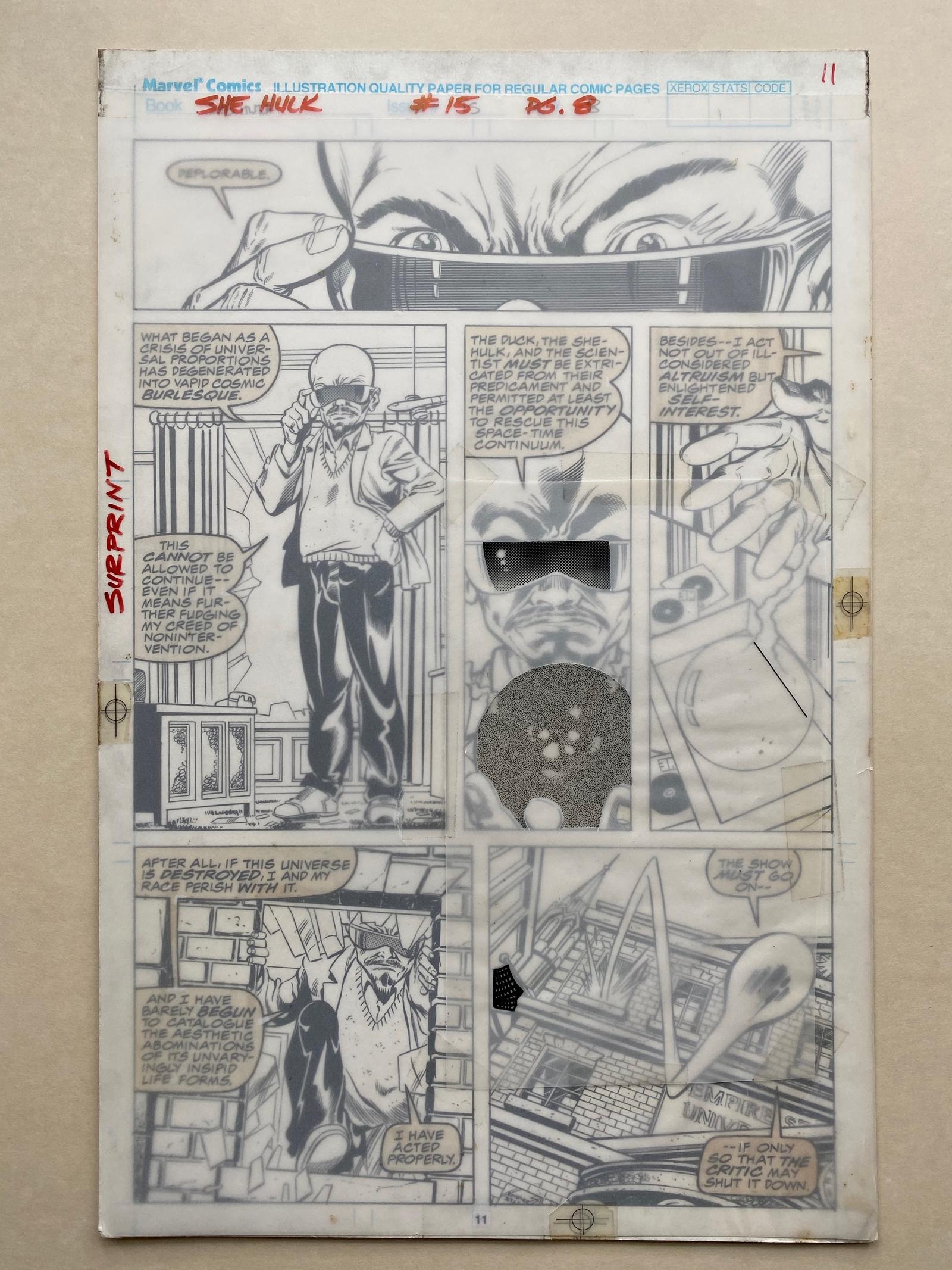 Lot 2222 - SENSATIONAL SHE-HULK #15 (1990) - ORIGINAL ARTWORK - BRYAN HITCH (Artist) JIM SANDERS (Inker) - Page