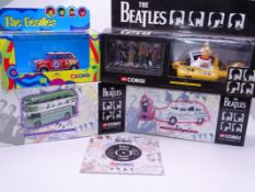 "A group of Corgi Classics ""The Beatles Collection"" diecast vehicles together with a brochure for the"