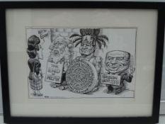 KAL: THE ECONOMIST 2012 - Black and white - Framed and Glazed Original Satirical Cartoon Artwork