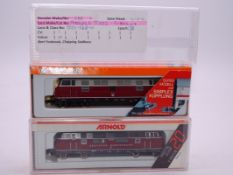 N Gauge - A pair of German Outline Diesel locomotives by Arnold - G-VG in G-VG boxes. (2)