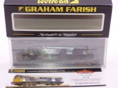 N Gauge - A Graham Farish by Bachmann 371-125K Class 33 Diesel locomotive in DRS Minimodal Blue