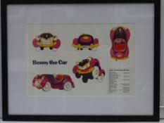 BENNY THE CAR - Framed and Glazed Colourists Sheet