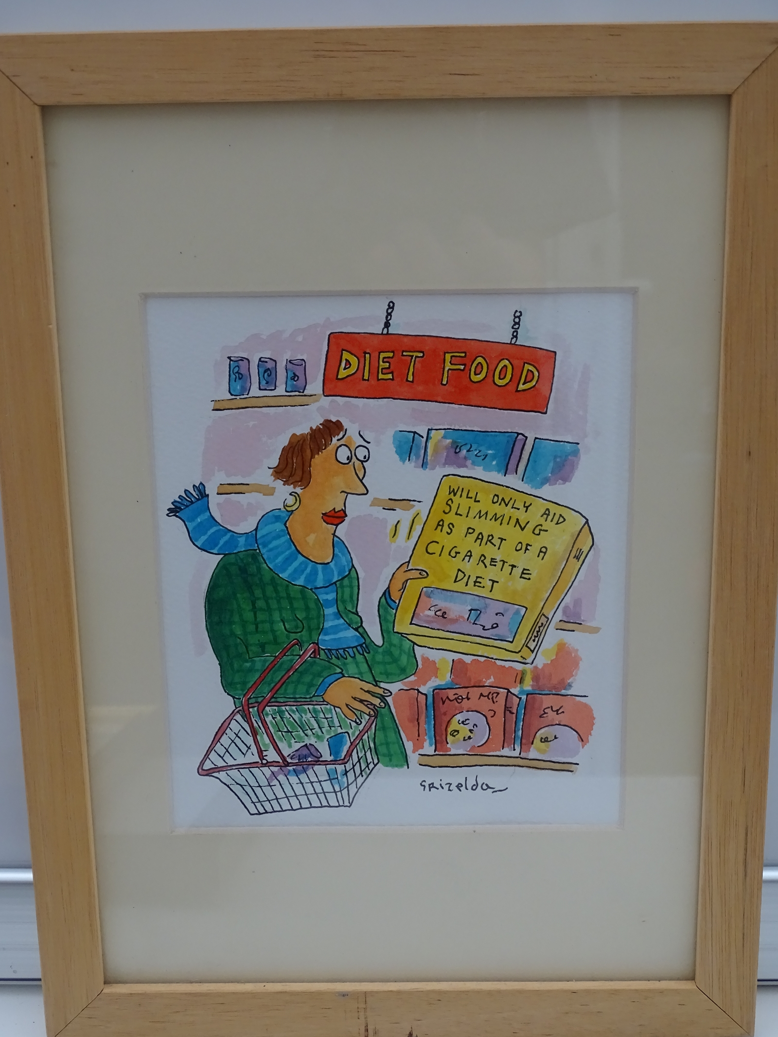 Lot 1157 - GRIZELDA: Full Colour - Framed and Glazed Original Satirical Cartoon Artwork