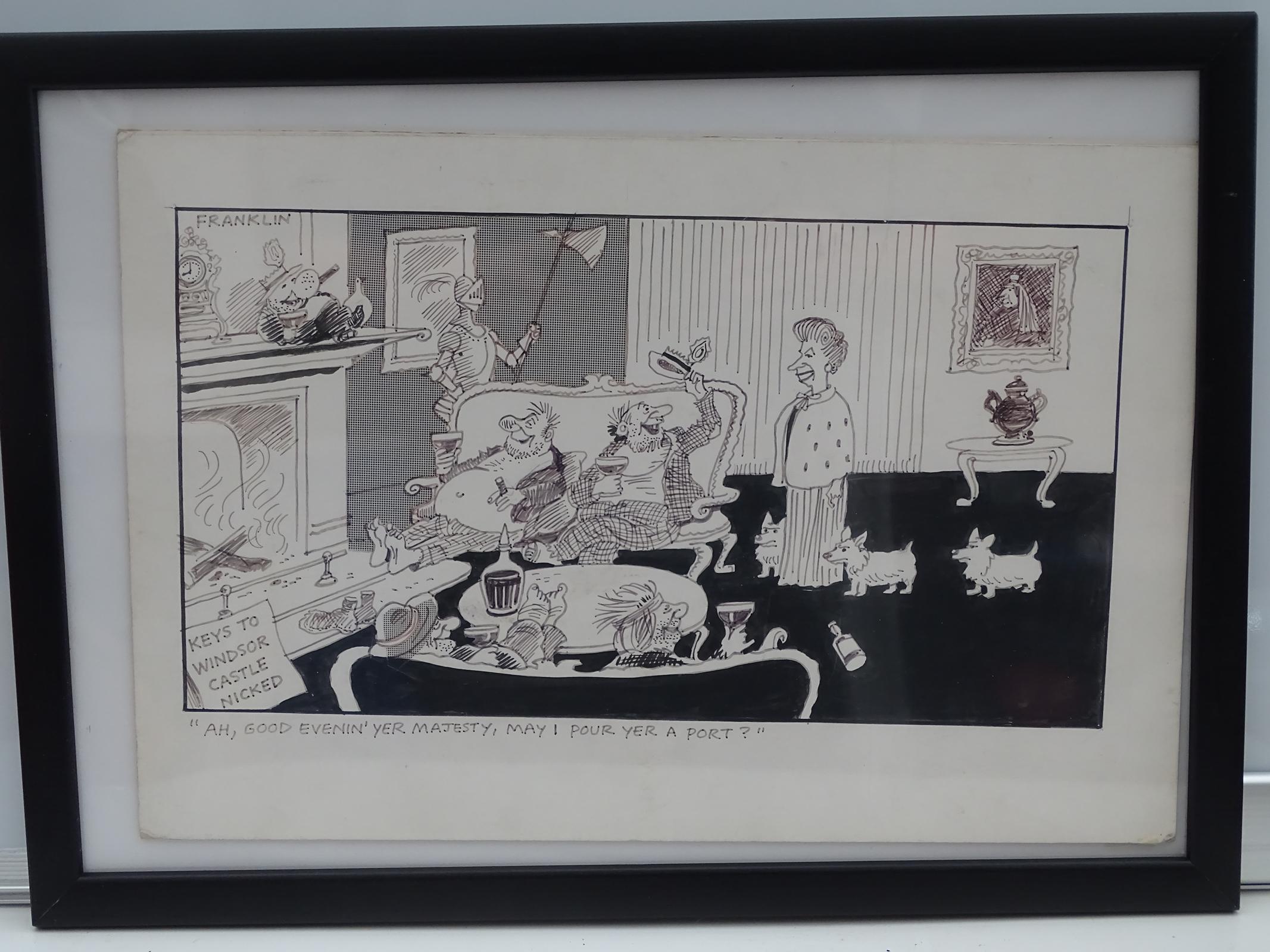 Lot 1154 - FRANKLIN: Black and white - Framed and Glazed Original Satirical Cartoon Artwork