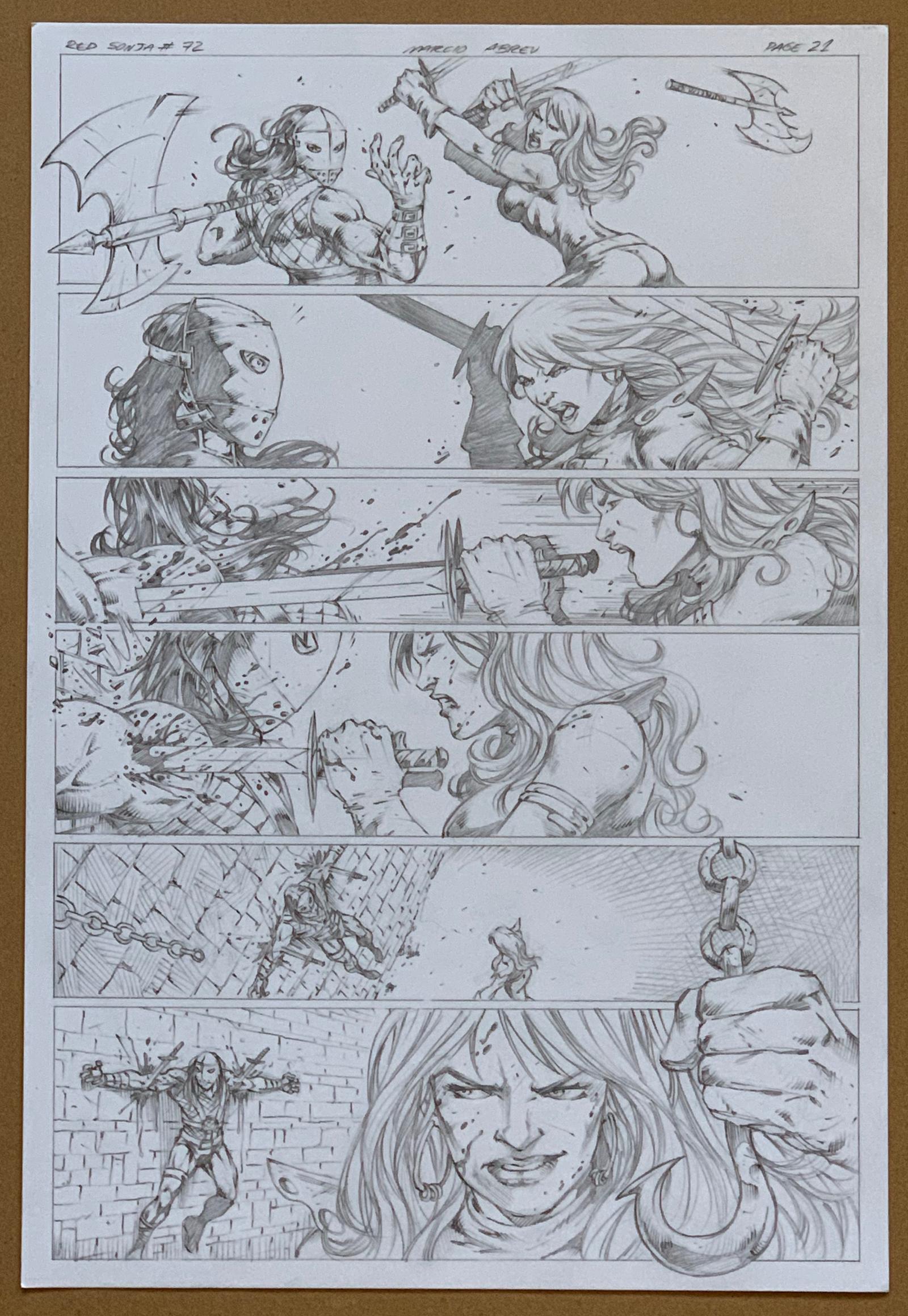 Lot 2015 - RED SONJA #72 (2012) - ORIGINAL ARTWORK - MARCIO ABREU (Artist) - Page 21 (DYNAMITE 2012) - Red