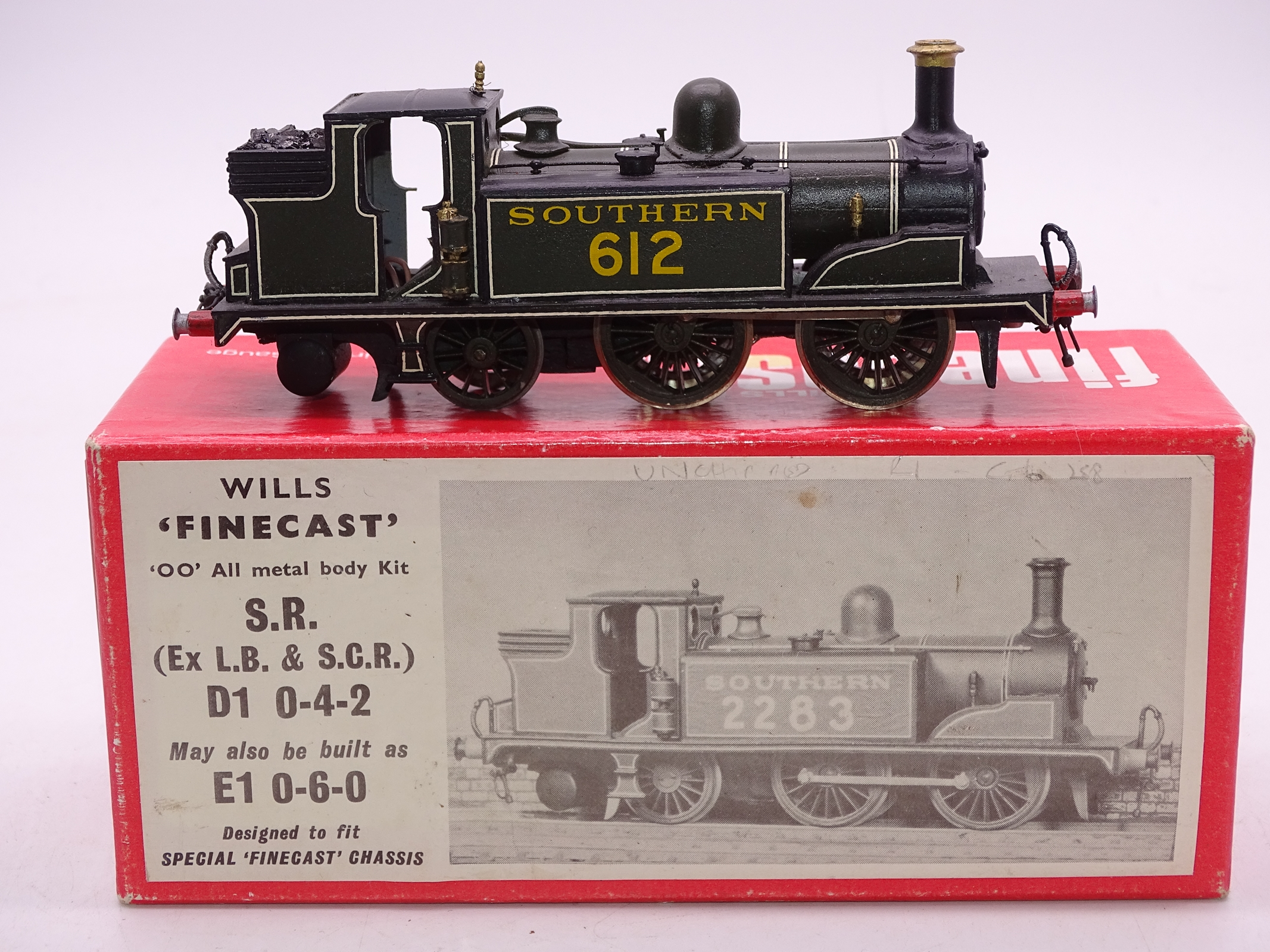 Lot 53 - OO Gauge -A Wills Finecast kit built Class D1 steam tank loco in Southern Railway livery -