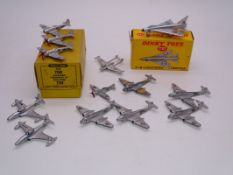 A large group of playworn Dinky diecast aircraft, to include a boxed 737 Lightning and a 70B trade