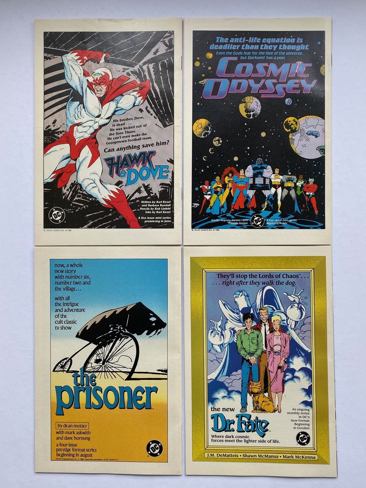 Lot 2168 - ANIMAL MAN #1, 2, 3, 4 (4 in Lot) - (1988) - DC VFN+ (Cents/Pence Copy) - Flat/Unfolded - Very