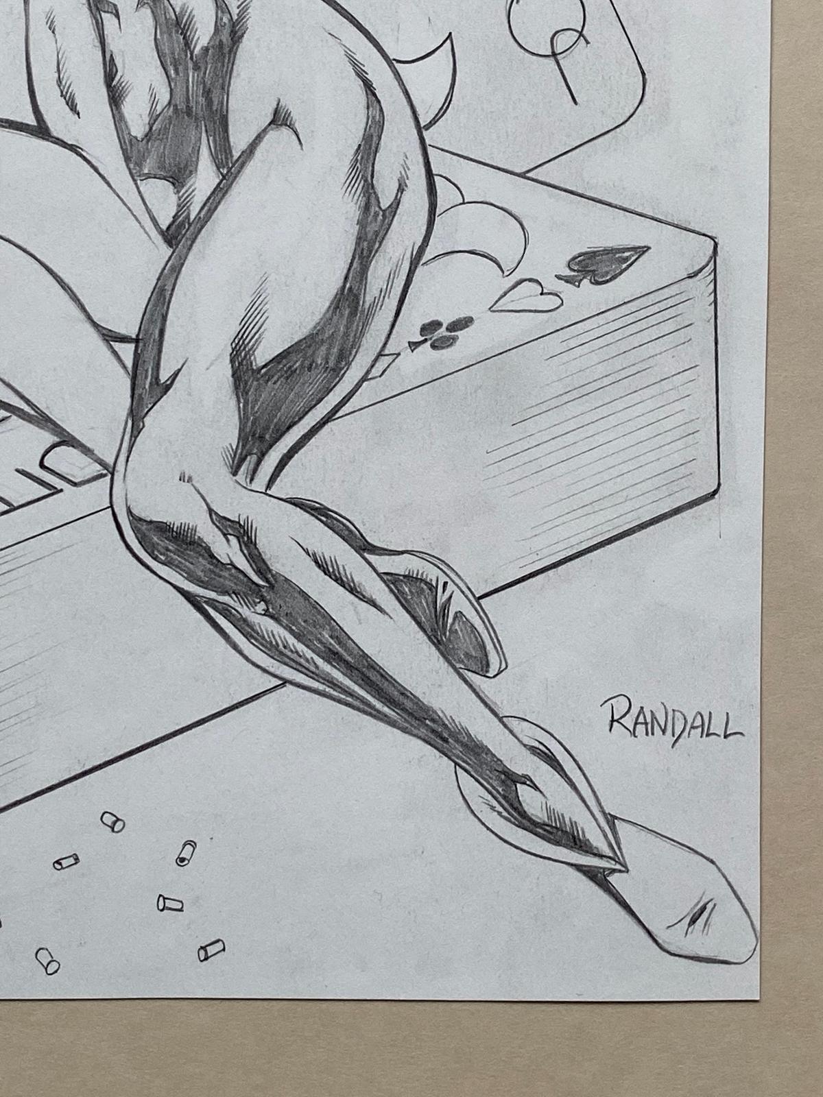 Lot 2192 - HARLEY QUINN ORIGINAL ILLUSTRATION BY RON RANDALL - SIGNED BY RON RANDALL - Harley Quinn pin-up in
