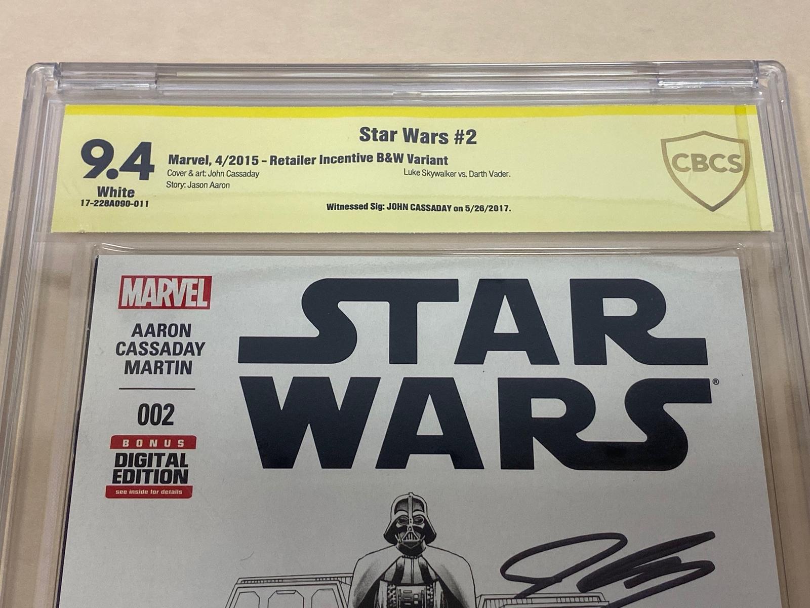 Lot 2129 - STAR WARS #2 (2015 - MARVEL) Graded CBCS 9.4 (Cents Copy) SIGNED BY JOHN CASSADAY - Retailer