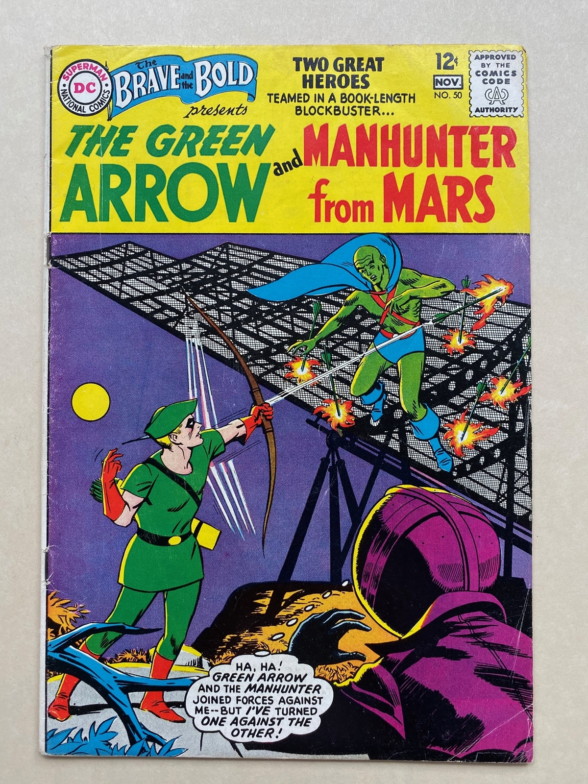 Lot 2160 - BRAVE & BOLD #50 - MARTIAN MANHUNTER & GREEN ARROW - (1963 - DC) FN/VFN (Cents Copy) - First