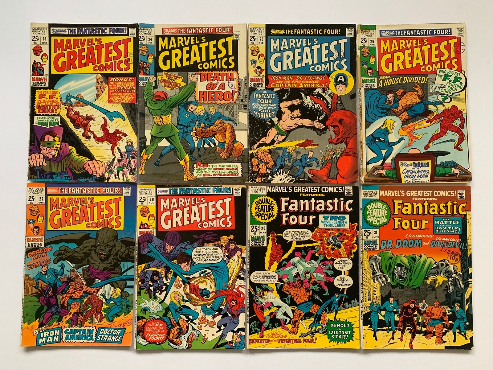 Lot 2067 - MARVEL'S GREATEST COMICS LOT #23, 24, 25, 26, 27, 28, 30, 31 (8 in Lot) - (1969/71 - MARVEL -