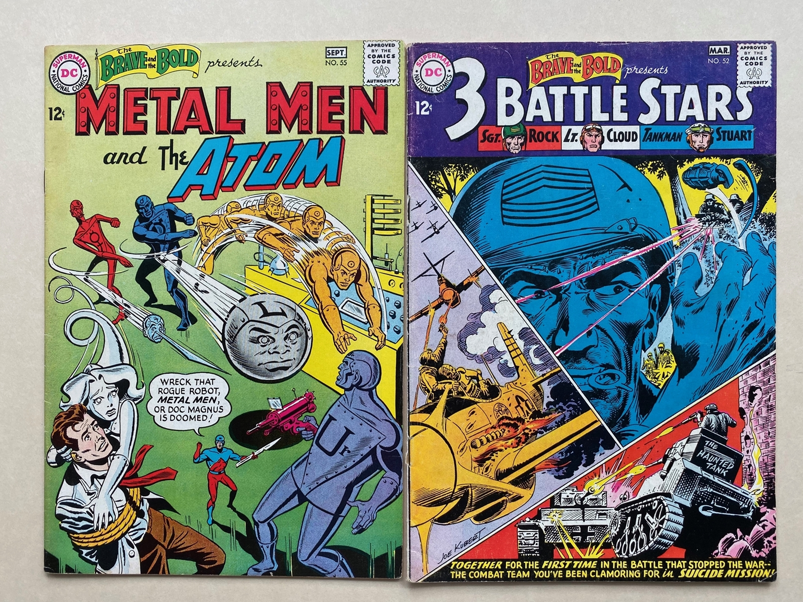 Lot 2162 - BRAVE & BOLD #52, 55 - SGT. ROCK, METAL MEN, ATOM (2 in Lot) - (1964 - DC) FN/VFN (Cents Copy) - Run