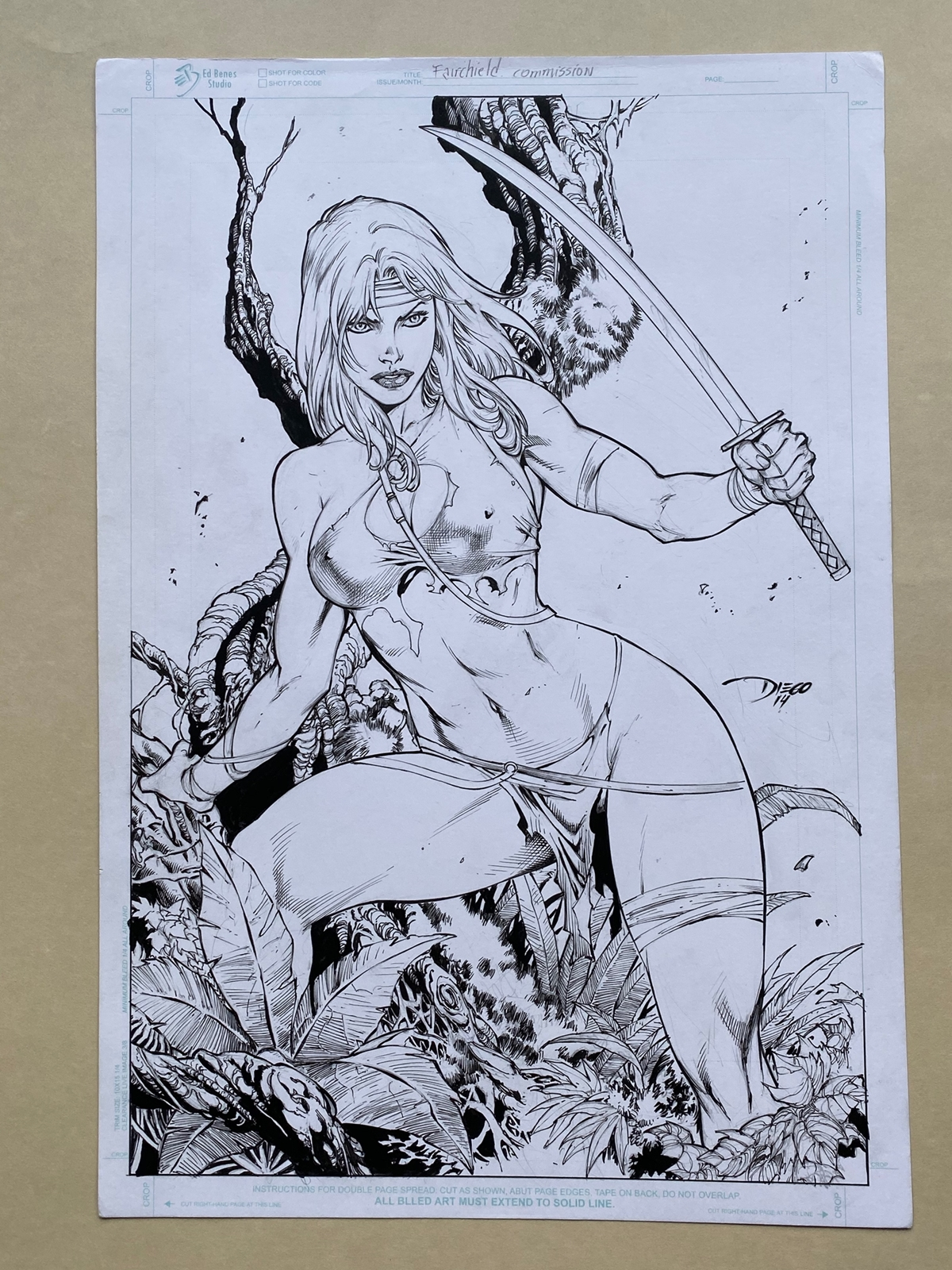 Lot 2054 - FAIRCHILD / GEN 13 (2014) ILLUSTRATION BY DIEGO BERNARD - SIGNED BY DIEGO BERNARD - ORIGINAL