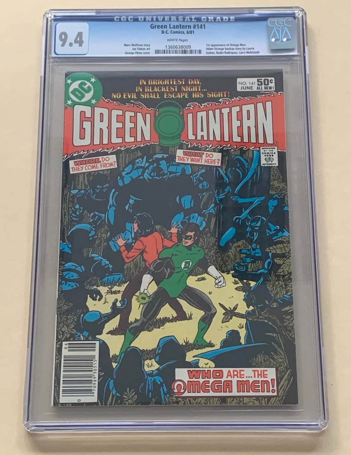 Lot 2096 - GREEN LANTERN #141 (1981 - DC) Graded CGC 9.4 (Cents Copy) - First appearance of the Omega Men -