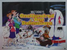 WALT DISNEY: 101 DALMATIANS (1980's) RE-RELEASE UK QUAD FILM POSTER - Classic WALT DISNEY animated