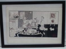 FRANKLIN: Black and white - Framed and Glazed Original Satirical Cartoon Artwork