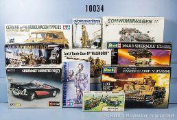 Konv. 10 Modellbausätze für Militärfahrzeuge, Figuren und Pkw, Kunststoffausf., M 1:16 bis 1:48,
