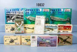 Konv. 22 Bausätze für Flugzeuge und Helikopter, Kunststoffausf., M 1:87 bis 1:72, versch.