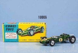 Corgi Toys 155 Lotus Climax Formula I Racing Car, lack. Metallgußausf., Startnummer 1, M ca. 1:43,