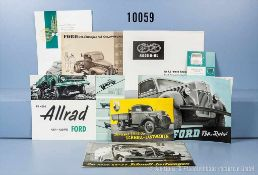 Konv. 11 alte original Ford Prospekte, Falt- und Werbeblätter für Lkw, dabei für Schnell-
