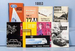 Konv. 8 alte original Ford Autoprospekte, Falt- und Werbeblätter, dabei 3 Bedienungsanleitugnen, für
