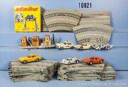Konv. Stabo Car, dabei diverses Schienenmaterial, Geschwindigkeitsregler, Leitplanken, Zapfsäulen,