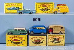 Konv. 5 Matchbox Fahrzeuge Serie 1-75, u. a. 25 A, 31 B, 35 A, 42 A und 57 B, guter bis sehr guter