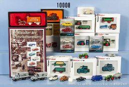 Konv. 30 H0 Modellfahrzeuge, dabei 1 Bausatz, Pkw, Lkw, landwirtschaftl. Fahrzeuge, Anhänger,